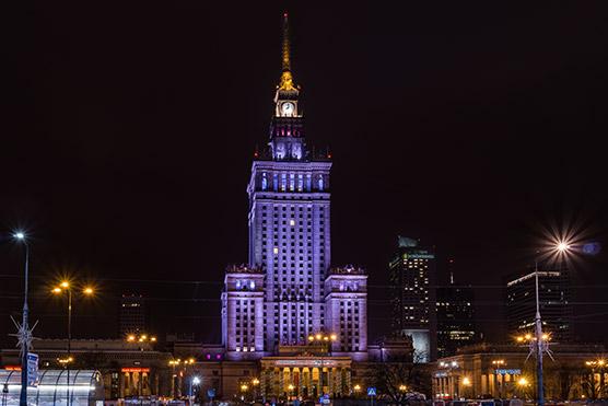 Palazzo della Cultura e della Scienza di notte Varsavia